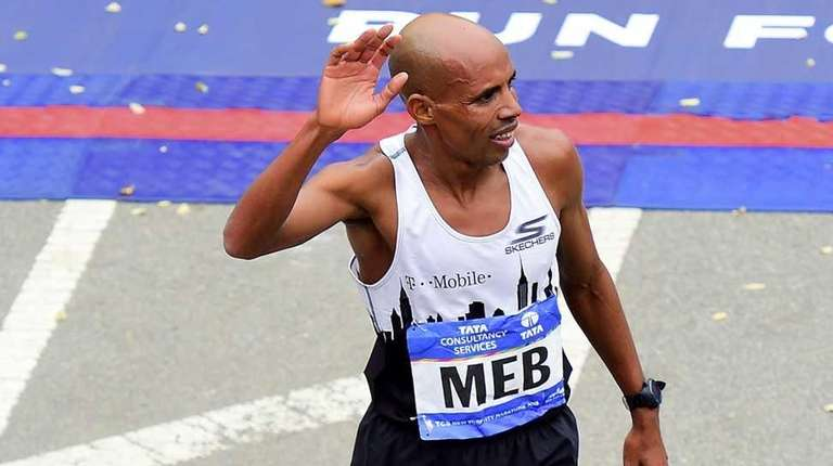 Meb Keflezighi of the United States finishes seventh