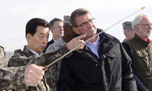 U.S. Defense Secretary Ash Carter, right, and South