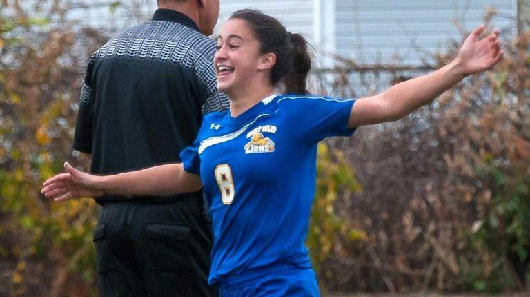 West Islip's Paige Sherlock celebrates after scoring the