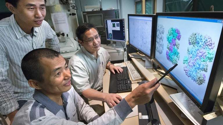 Molecular biologist Huilin Li points to some of