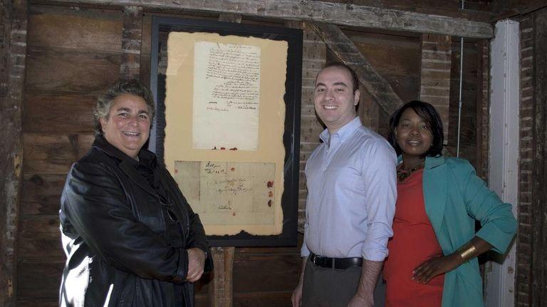 Port Jefferson Mayor Margot Garant, left, Mark Sternberg,