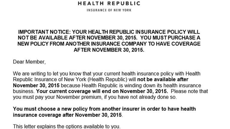Health Republic sent this letter to customers announcing
