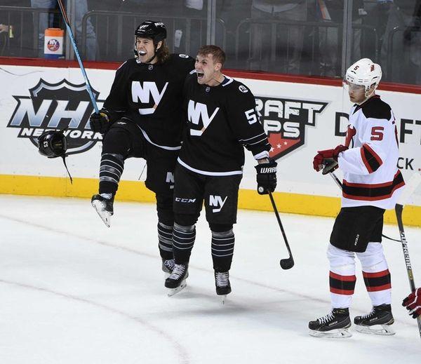 New York Islanders left wing Matt Martin celebrates