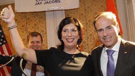 With Nassau Democratic chairman Jay Jacobs at her