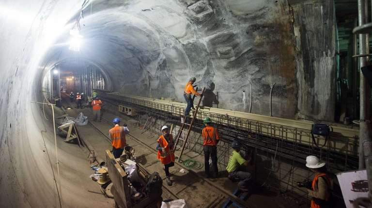 East Side Access workers can be seen during