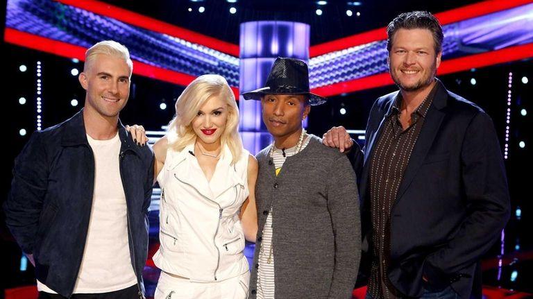 Gwen Stefani and Blake Shelton, both coaches on