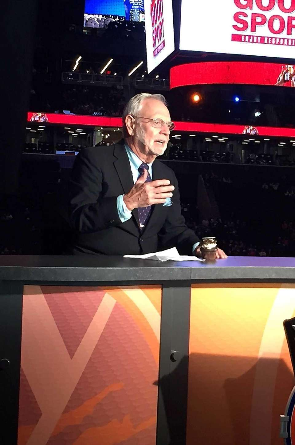 Stan Fischler is seen on the pregame show