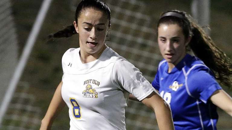 West Islip's Paige Sherlock controls the ball in