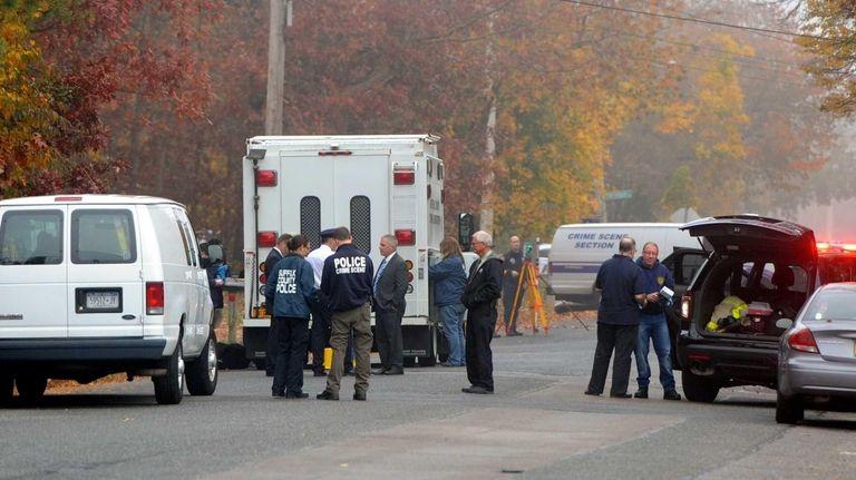 Suffolk crime scene investigators at the scene of