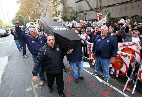 NYC Patrolmen's Benevolent Association members express their discontent