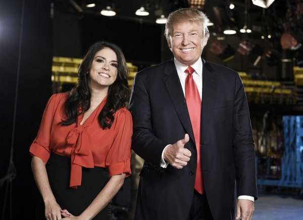 Cecily Strong and Donald Trump, promoting the Nov.