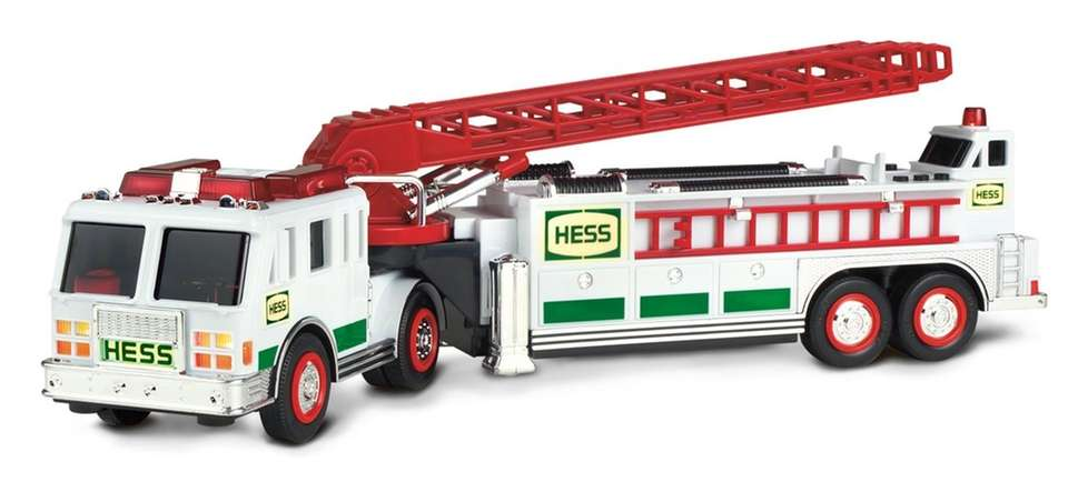 This white tractor-drawn ladder truck has green Hess