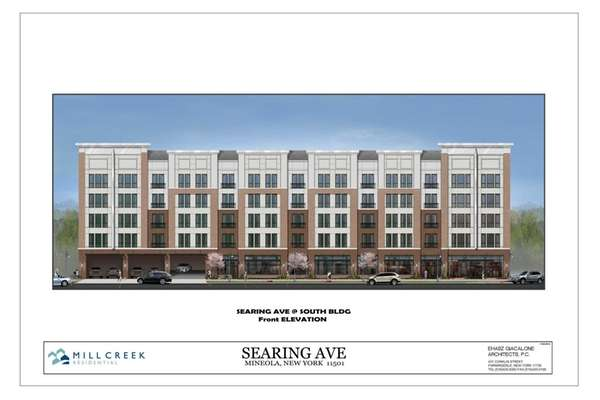 Rendering of a proposed 197-unit apartment complex, Mill