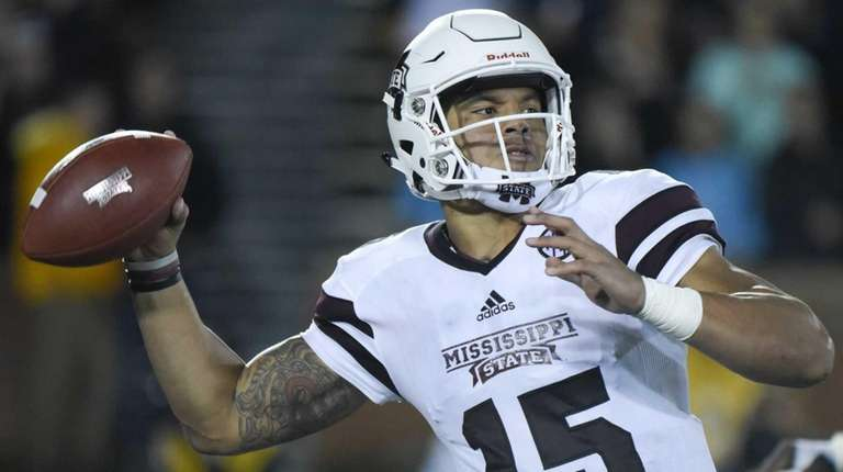 Mississippi State quarterback Dak Prescott passes against the