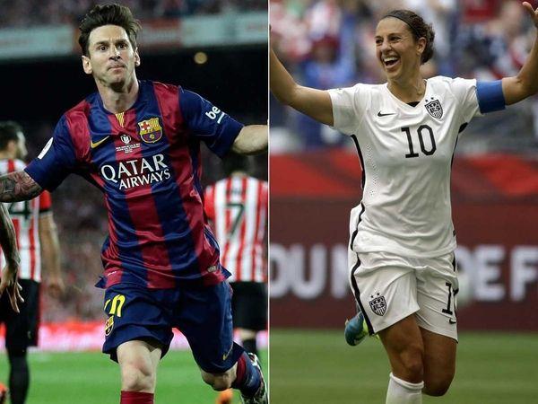 Left: Barcelona's Lionel Messi celebrates after scoring the