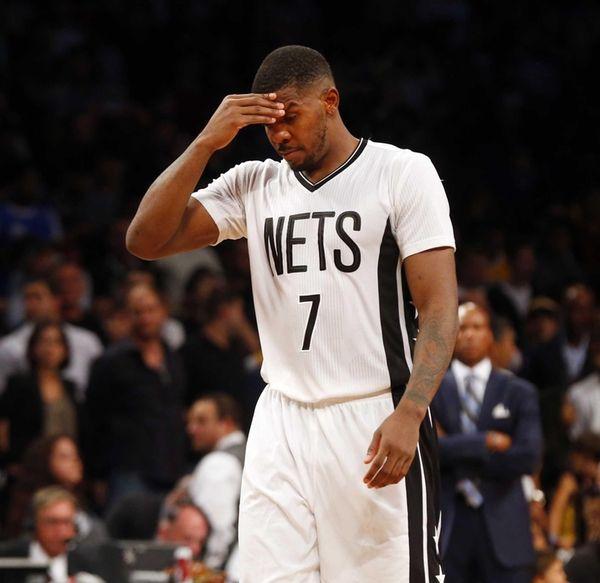 Joe Johnson #7 of the Brooklyn Nets looks