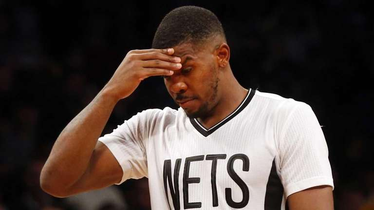 Joe Johnson #7 of the Brooklyn Nets looks