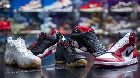 A display of high end sneakers at the