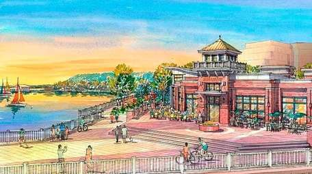 A rendering of Garvies Point, a mixed-use development