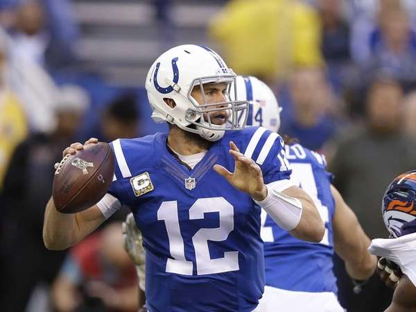 Indianapolis Colts quarterback Andrew Luck throws during the