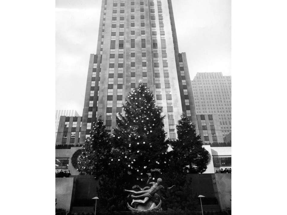 The Rockefeller Center Christmas tree seen in 1942.