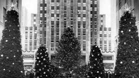 Holiday lights adorn the 1943 Rockefeller Center Christmas