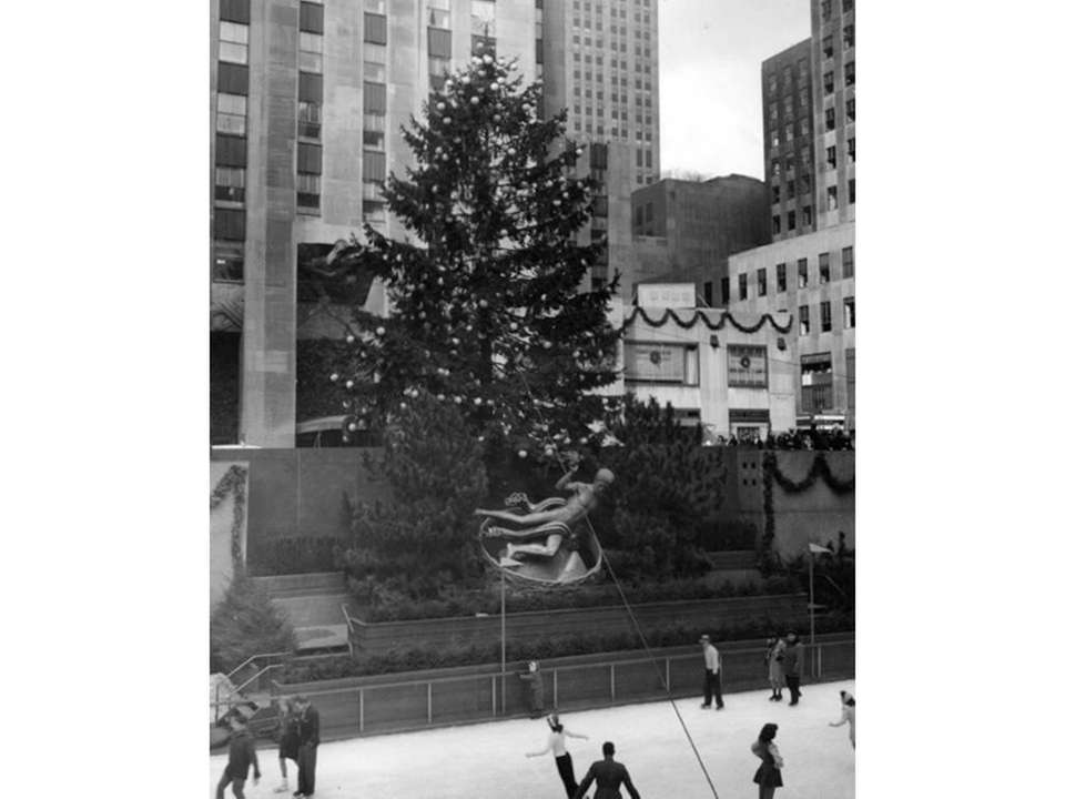 The Rockefeller Center Christmas tree seen in 1945.