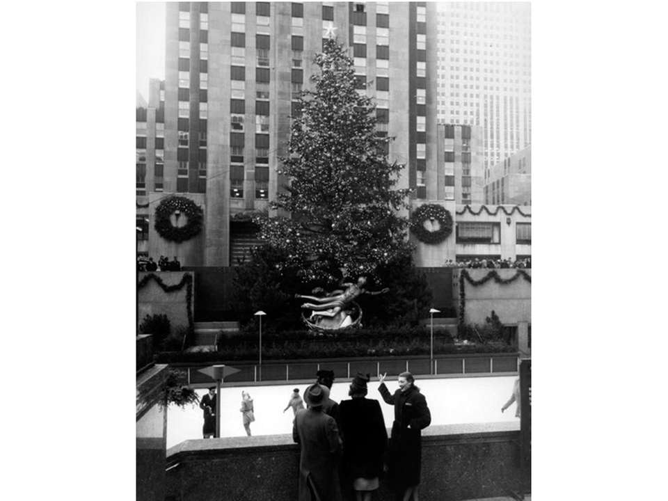 The Rockefeller Center Christmas tree seen in 1947.