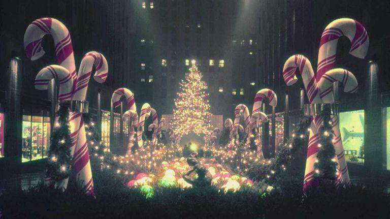Holiday lights adorn the 1956 Rockefeller Center Christmas