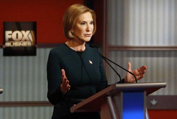 Carly Fiorina speaks during the Republican presidential debate