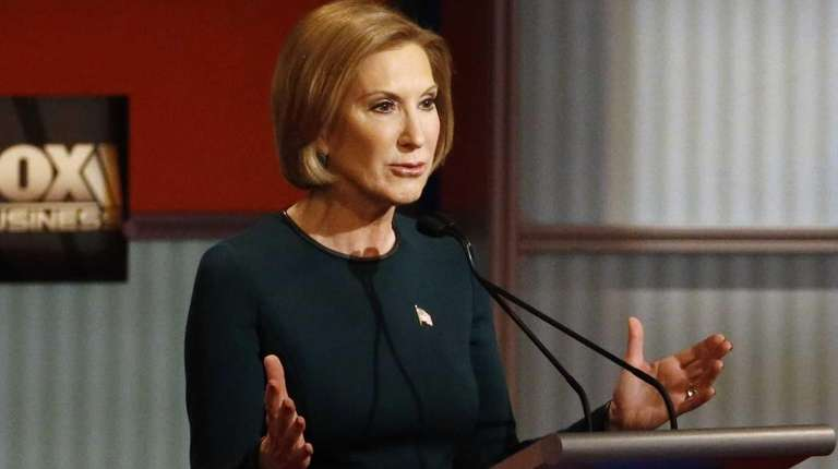 Carly Fiorina speaks during the Republican presidential debate