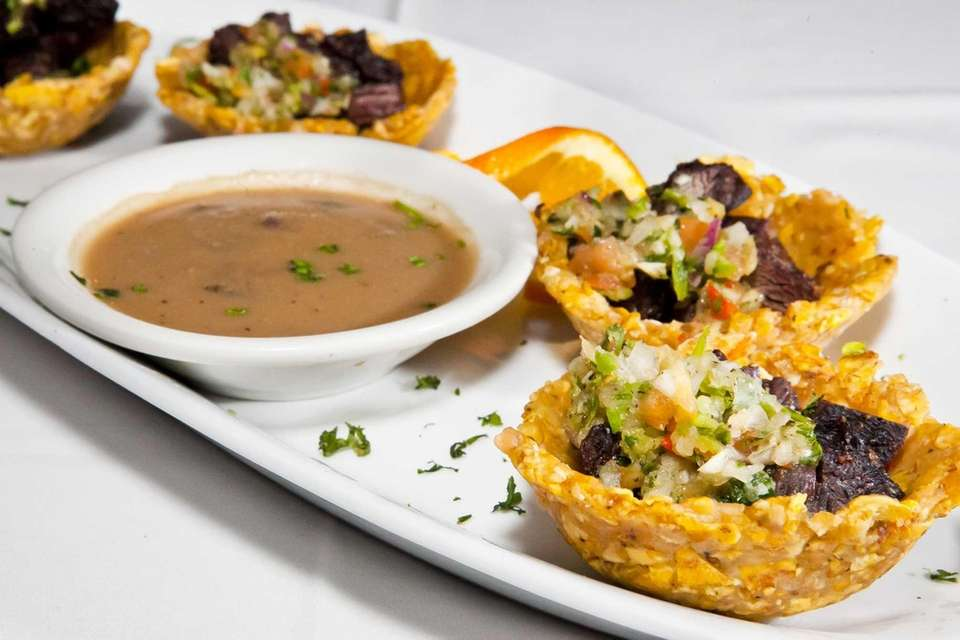 Tostones rellenos, little stuffed plantain cups filled with