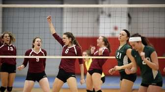 Kings Park's Jaclyn Wilton reacts after a spike