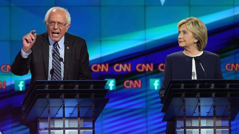 Democratic presidential candidates Sen. Bernie Sanders and Hillary