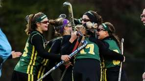 Ward Melville's team celebrates during the Class A