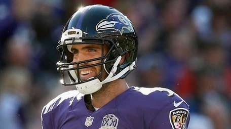 Joe Flacco #5 of the Baltimore Ravens celebrates