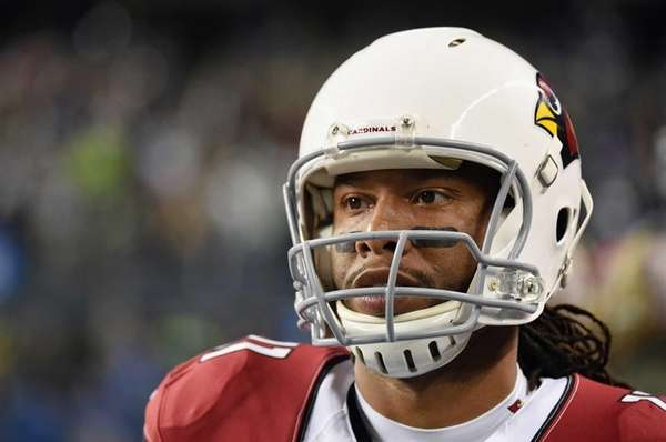 Larry Fitzgerald #11 of the Arizona Cardinals looks