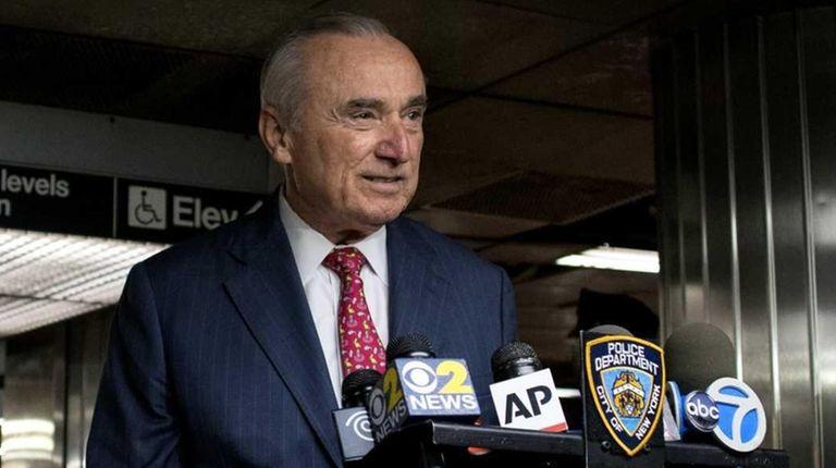 NYPD Commissioner William J. Bratton addresses member of