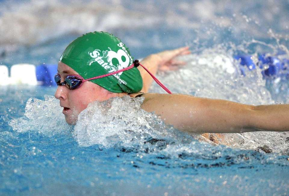 Garden City's Gabriella Meringolo swims in a preliminary