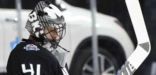 New York Islanders goalie Jaroslav Halak stands in