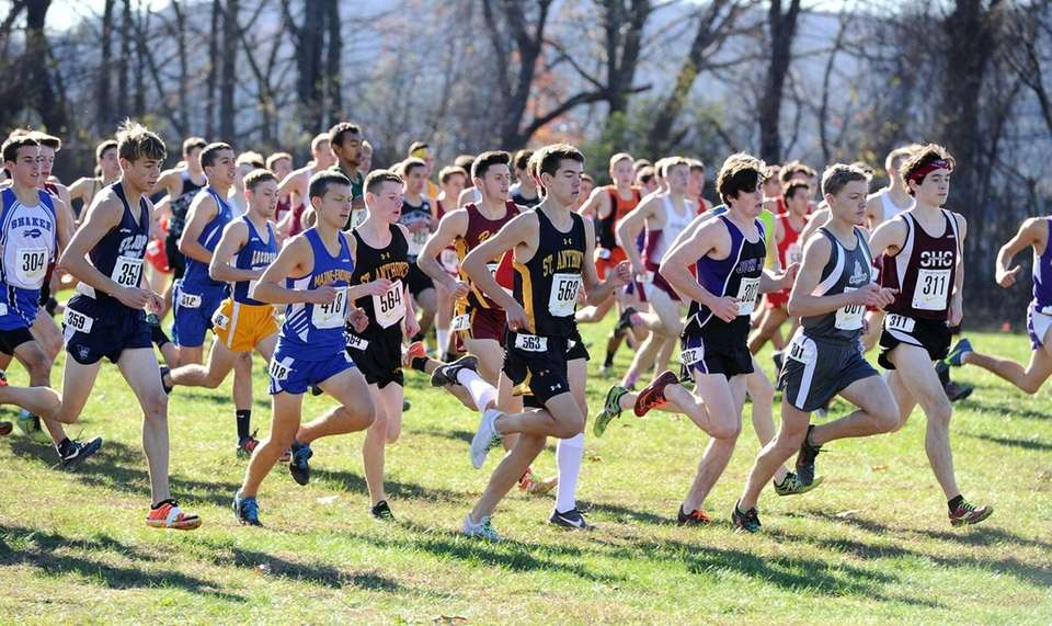 St. Anthony's cross country runners at the start