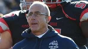 Stony Brook Seawolves head coach Chuck Priore runs