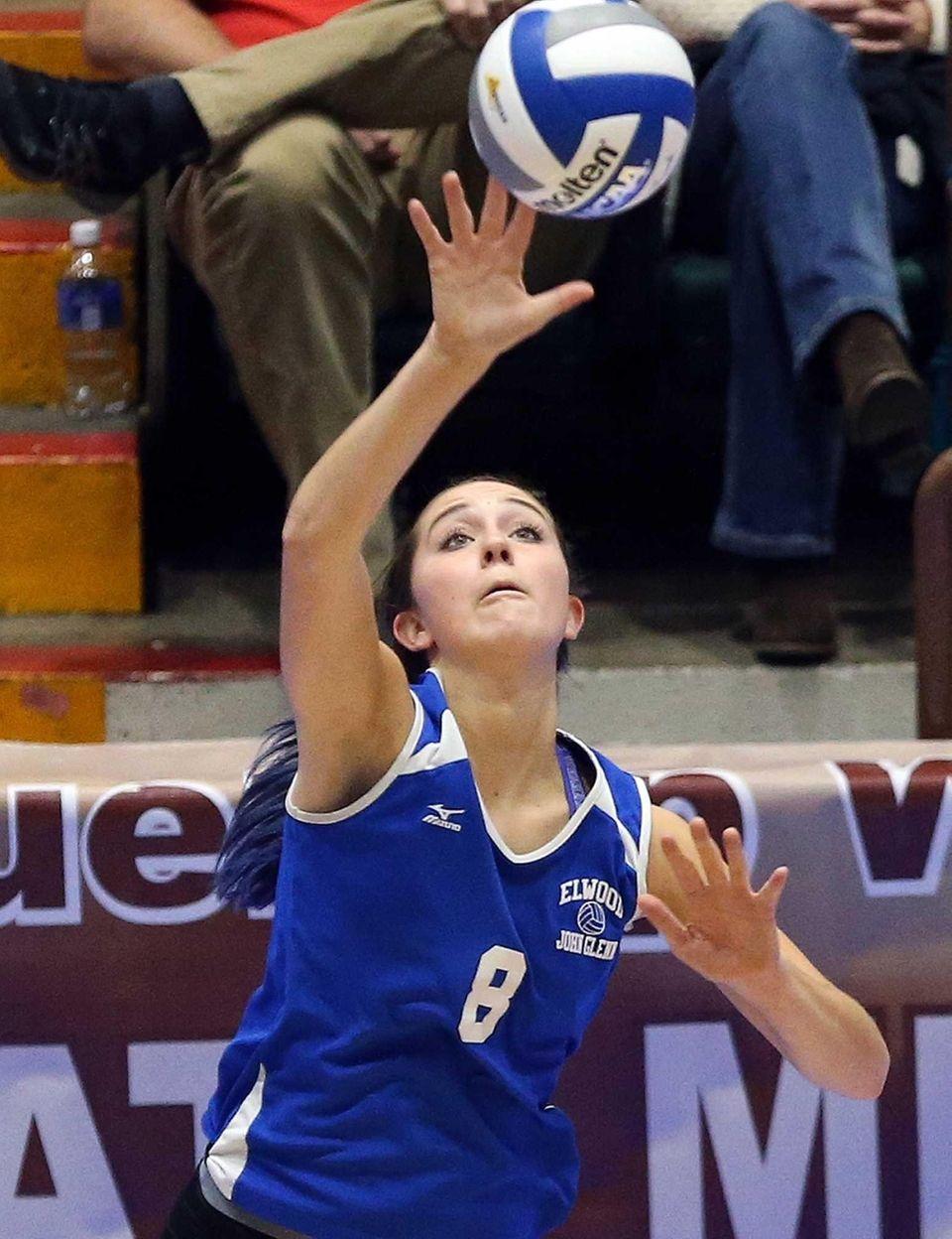 Glenn's Grace Cergol serves at the girls volleyball