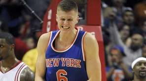 Knicks forward Kristaps Porzingis reacts after being fouled
