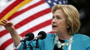 Democratic presidential candidate Hillary Rodham Clinton speaks to