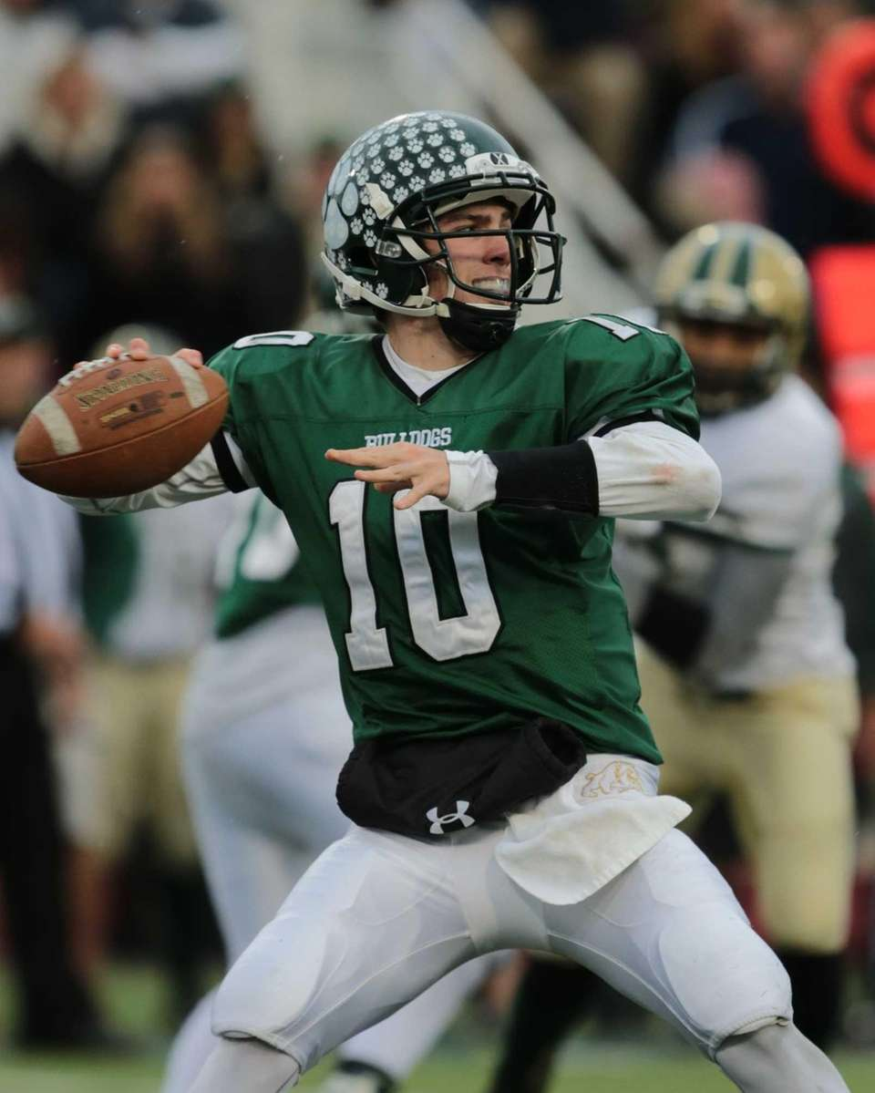 Lindenhurst quarterback Ryan Hoffman #10 drops back to