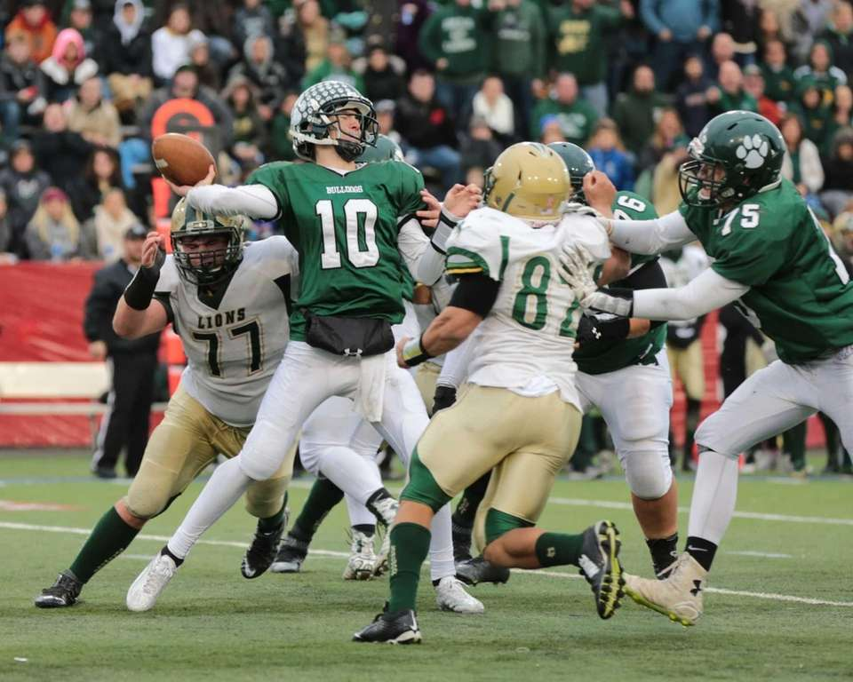 Lindenhurst quarterback Ryan Hoffmann #10 has his arm