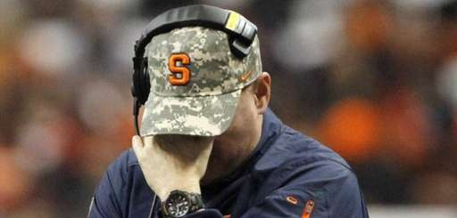 Syracuse head coach Scott Shafer reacts during a