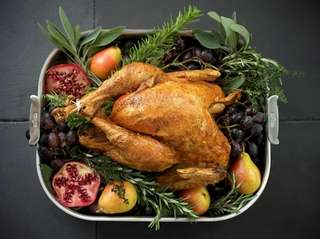 A roast turkey garnished with herbs and autumn