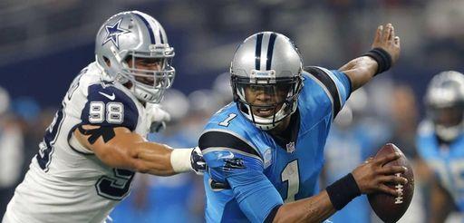 Carolina Panthers quarterback Cam Newton (1) is unable